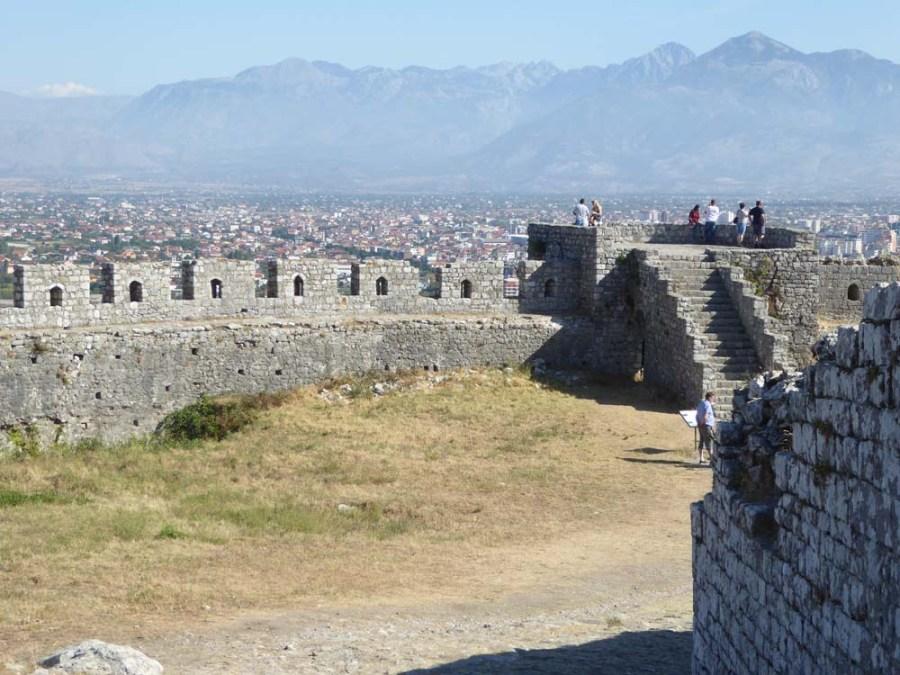 ALBANIA - Rozafa Fortress overlooking modern Schkodra