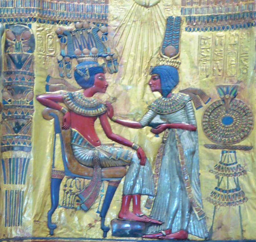 EGYPT - Detail from the throne of Tutankhamun in the Cairo Museum