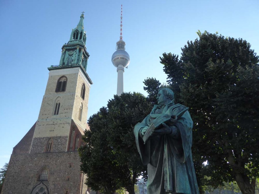 GERMANY - Marienkirche (13th century) and TV tower in Berlin