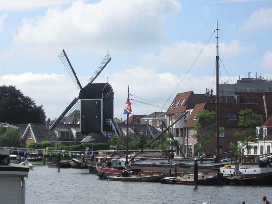 NETHERLANDS - Windmill on a canal in Leiden